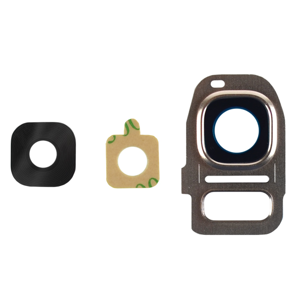 Samsung Galaxy S7 G930 G930F G930A G930V G930P G930T G930R4 G930W8, Edge G935 G935F G935A G935V G935P G935T G935R4 G935W8 Camera Lens with Bezel Frame, Gold