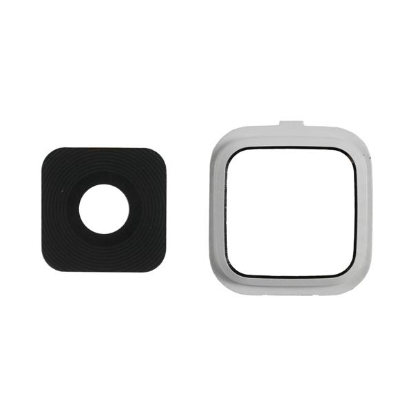 Samsung Galaxy Note 4 N910 N910M N910F N910S N910C N910A N910V N910P N910R N910T N910W8, Note Edge N9150 N915A N915D N915F N915FY N915G N915J N915P N915R4 N915T N915V N915W8 Camera Lens with Bezel Frame, White, 2 in 1
