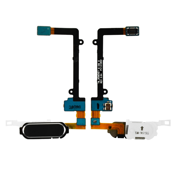 Samsung Galaxy Note Edge N9150 N915A N915D N915F N915FY N915G N915J N915P N915R4 N915T N915V N915W8 Flex Cable Ribbon with Fingerprint Scanner Sensor, Home Button and Connector, Black