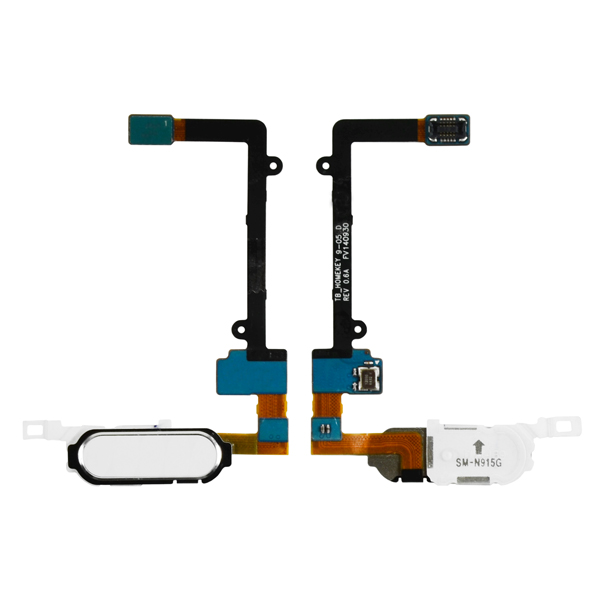Samsung Galaxy Note Edge N9150 N915A N915D N915F N915FY N915G N915J N915P N915R4 N915T N915V N915W8 Flex Cable Ribbon with Fingerprint Scanner Sensor, Home Button and Connector, White