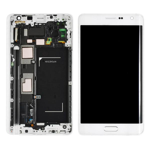 Samsung Galaxy Note Edge N9150 N915A N915D N915F N915FY N915G N915J N915P N915R4 N915T N915V N915W8 LCD Screen Digitizer and Bezel Frame, Frost White