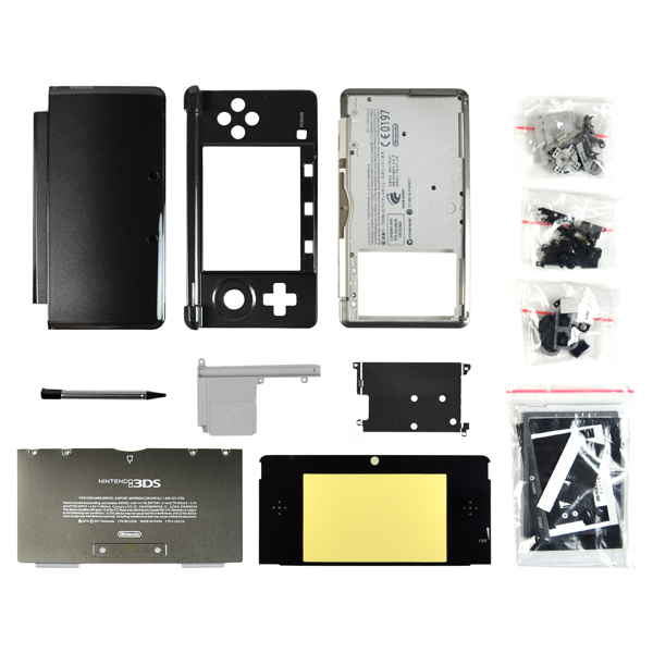 Nintendo 3DS Housing with Face & Back Plates, Top & Bottom Cover, Lens, Keypads and Screws, Clear Black