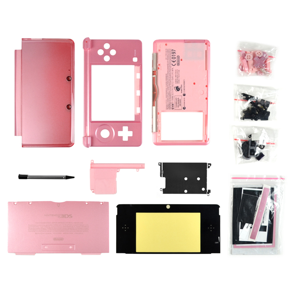 Nintendo 3DS Housing with Face & Back Plates, Top & Bottom Cover, Lens, Keypads and Screws, Pearl Pink