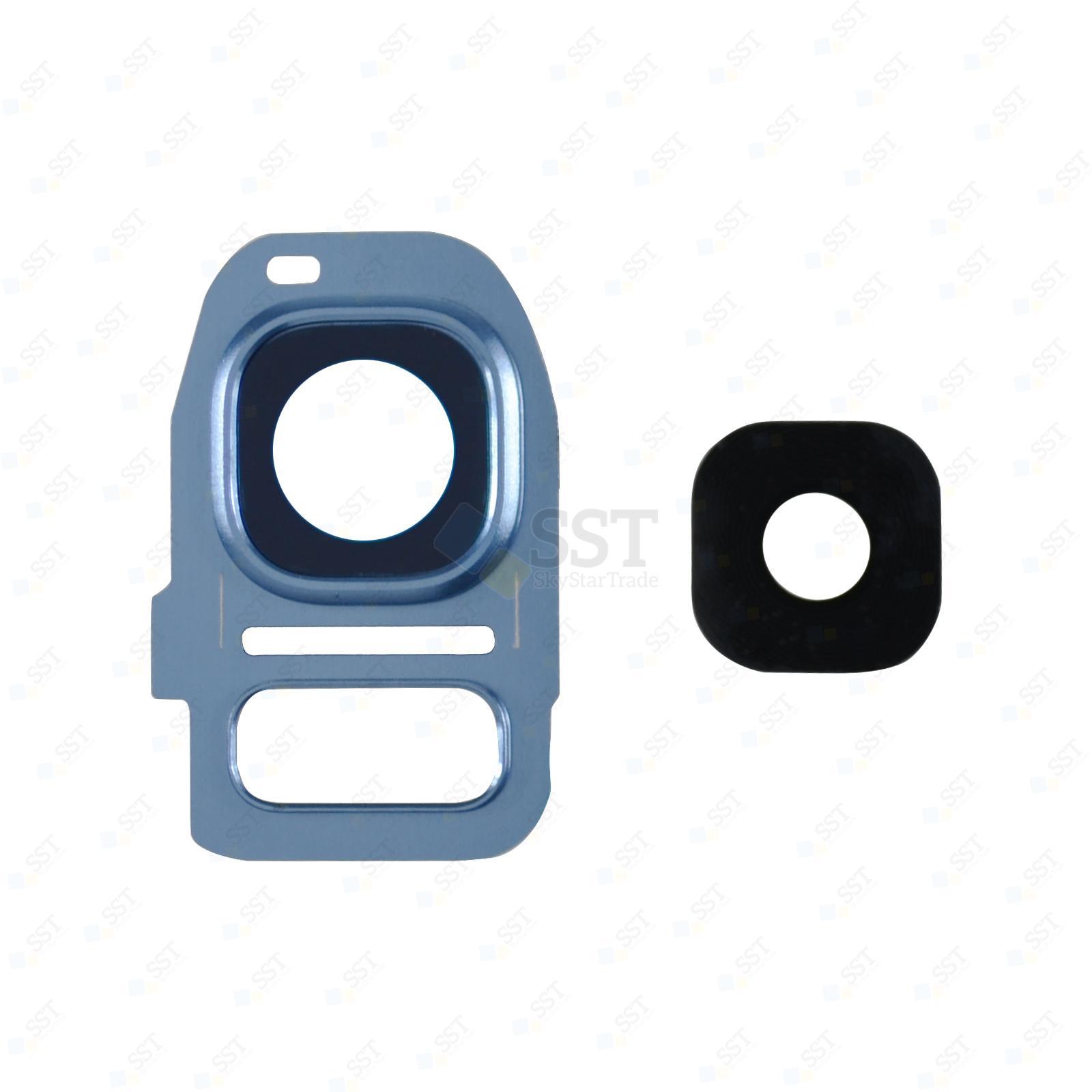 Samsung Galaxy S7 G930 G930F G930A G930V G930P G930T G930R4 G930W8, Edge G935 G935F G935A G935V G935P G935T G935R4 G935W8 Camera Lens with Bezel Frame, Blue