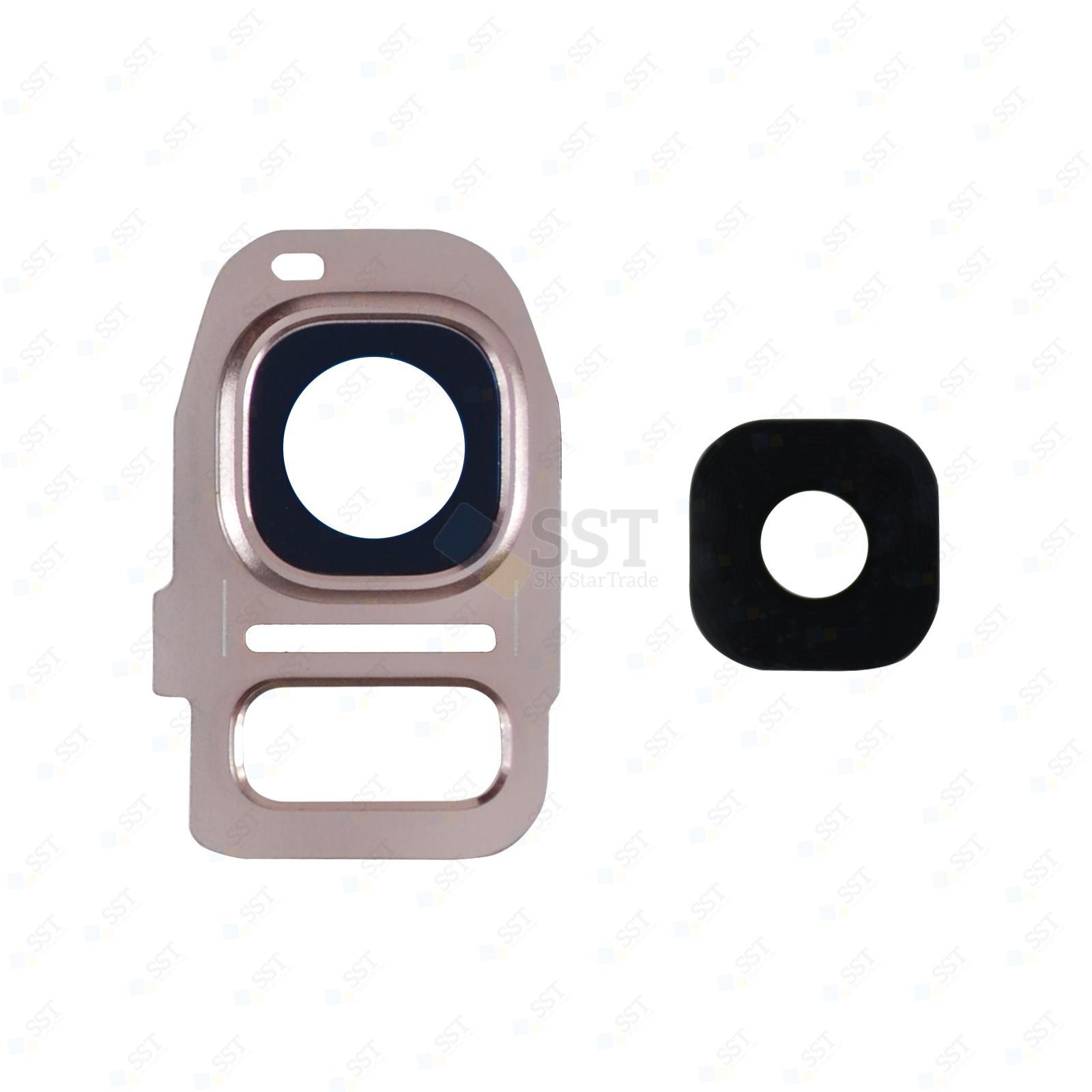 Samsung Galaxy S7 G930 G930F G930A G930V G930P G930T G930R4 G930W8, Edge G935 G935F G935A G935V G935P G935T G935R4 G935W8 Camera Lens with Bezel Frame, Pink