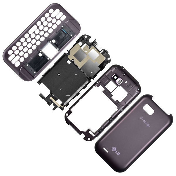 LG T-Mobile myTouch Q C800, Eclypse C800g Housing with Backplate, Battery Door, Midplate and Slide, Purple
