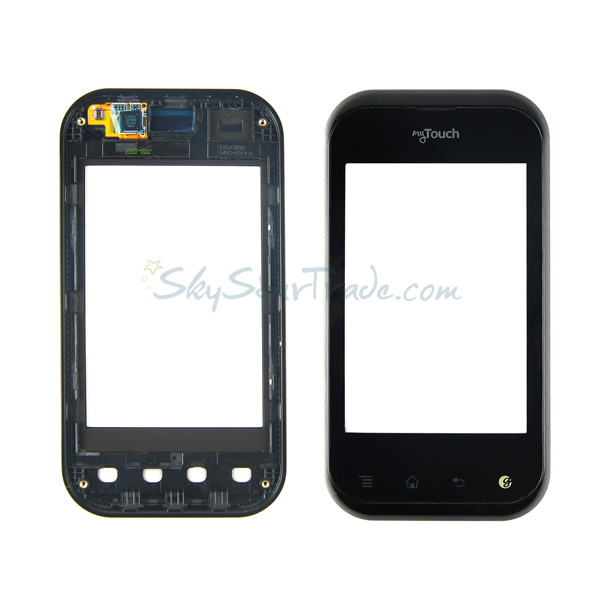 LG T-Mobile myTouch Q C800, Eclypse C800g Digitizer Touch with Bezel Frame, Black, my Touch Logo