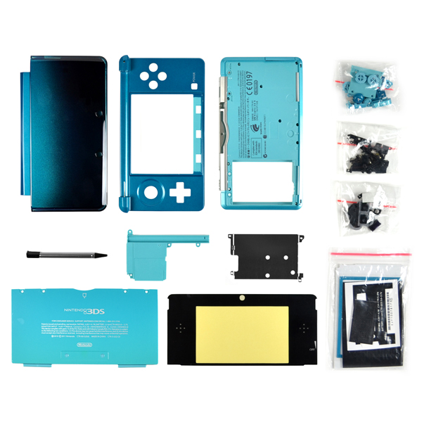 Nintendo 3DS Housing with Face & Back Plates, Top & Bottom Cover, Lens, Keypads and Screws, Aqua Blue