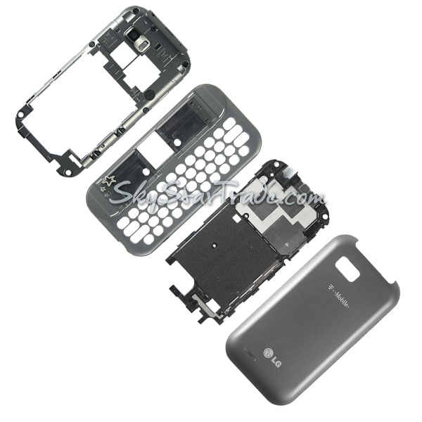 LG T-Mobile myTouch Q C800, Eclypse C800g Housing with Backplate, Battery Door, Midplate and Slide, Grey