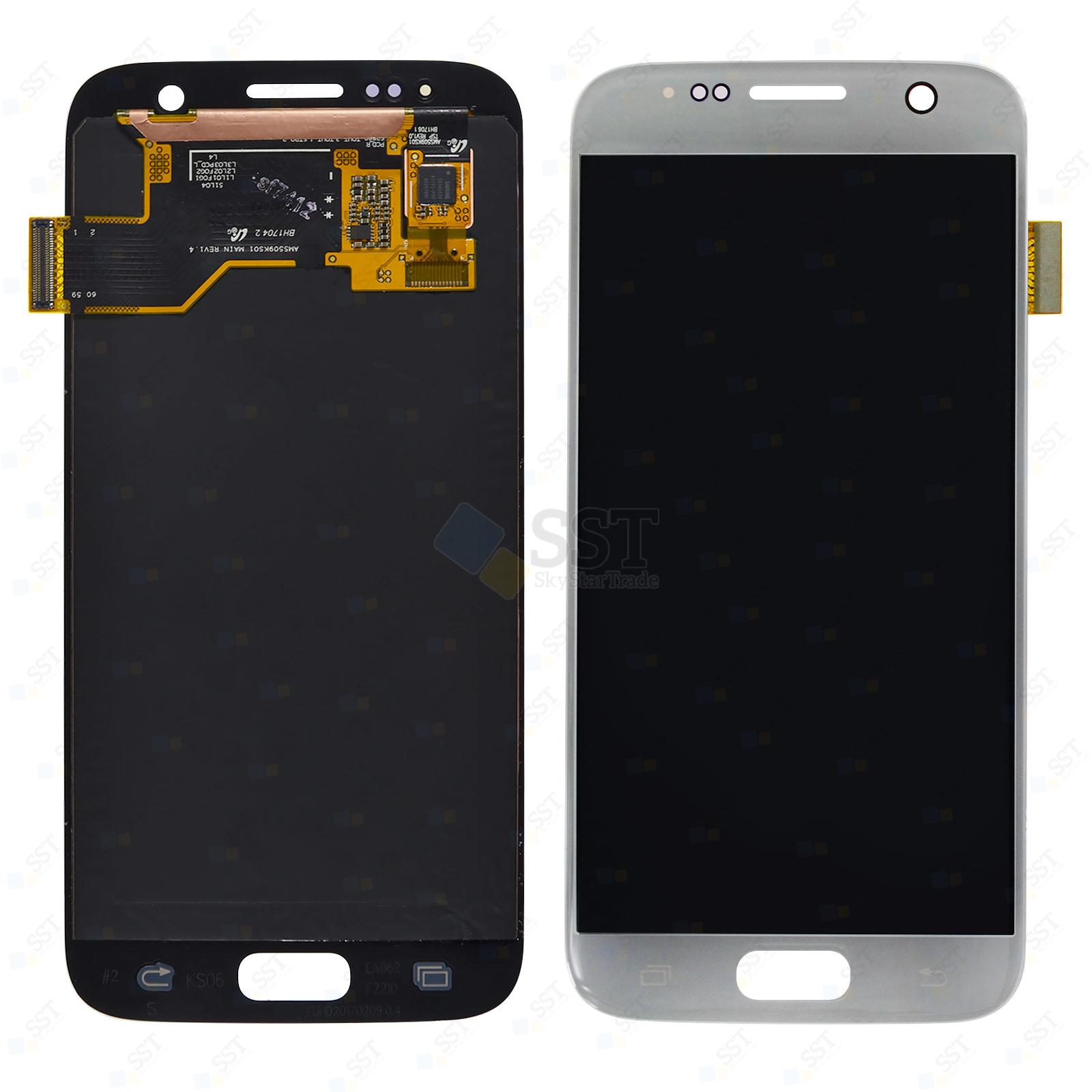 Samsung Galaxy S7 G930 G930F G930A G930V G930P G930T G930R4 G930W8 LCD Screen Digitizer, Silver, No Logo