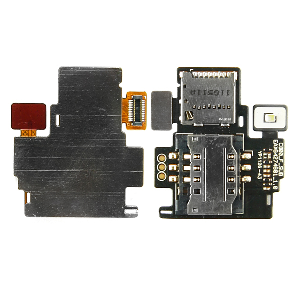LG T-Mobile myTouch Q C800 Maxx QWERTY, Eclypse C800g Flex Cable Ribbon with SimCard and Memory Card Reader Holders