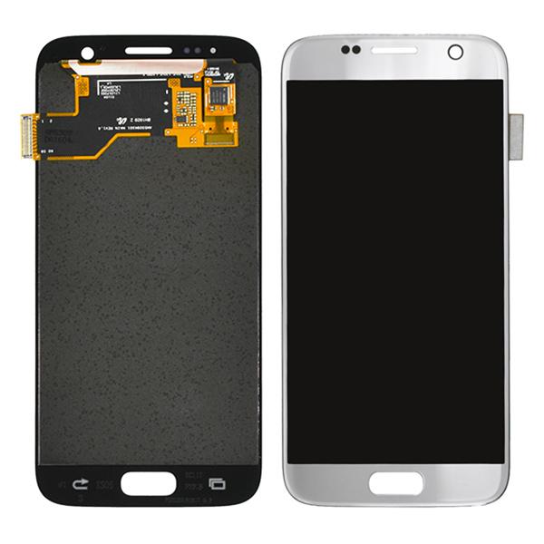 Samsung Galaxy S7 G930 G930F G930A G930V G930P G930T G930R4 G930W8 LCD Screen Digitizer, Silver, Samsung Logo